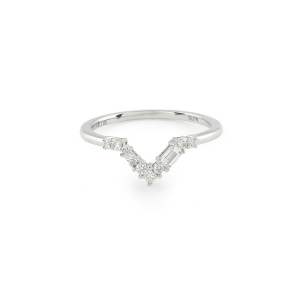 Blanca Curved Diamond Wedding Band // White Gold - Lucy & Mui