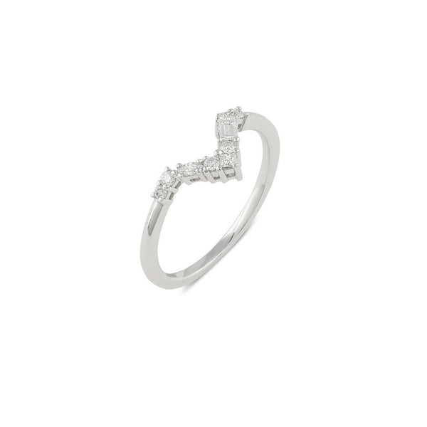 Blanca Curved Diamond Wedding Band // White Gold