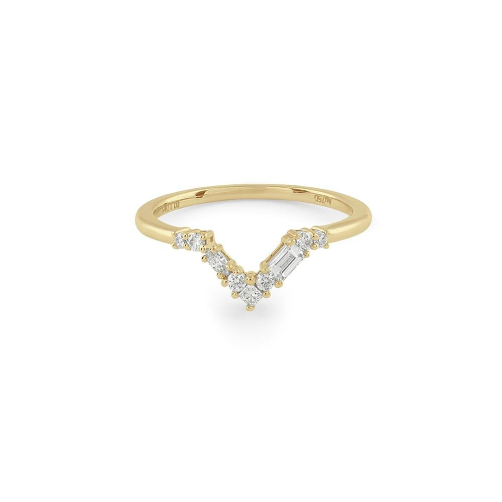 Blanca Curved Diamond Wedding Band // Gold - Lucy & Mui
