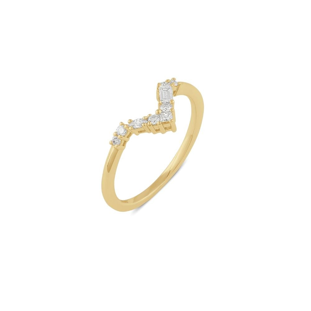 Blanca Curved Diamond Wedding Band // Gold