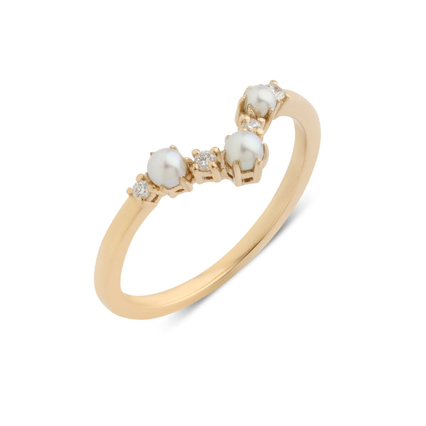 The Pearl Arc Diamond Wedding Band // Gold