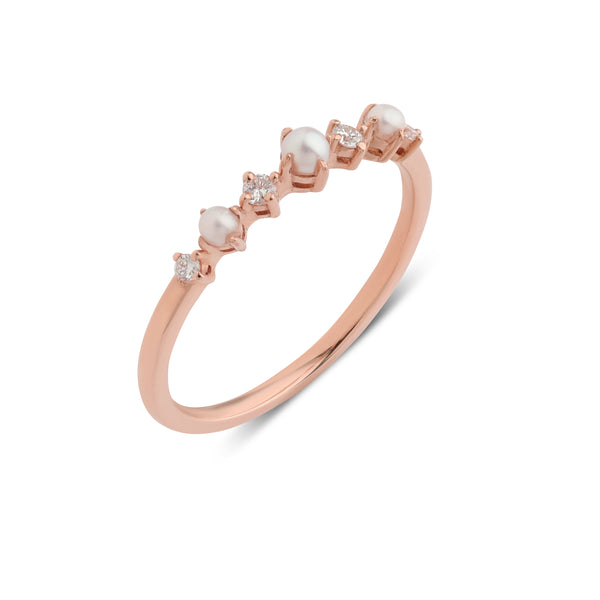 The Pearl Diamond Infinity Ring // Rose Gold