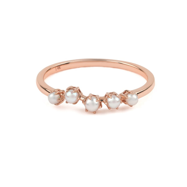 The Pearl Crescent Wedding Band // Rose Gold