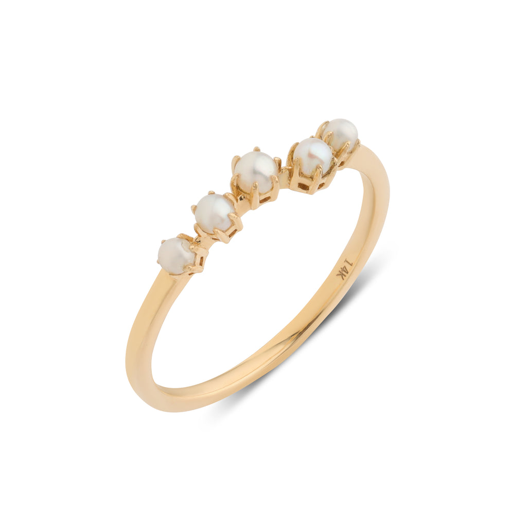 The Pearl Crescent Wedding Band // Gold