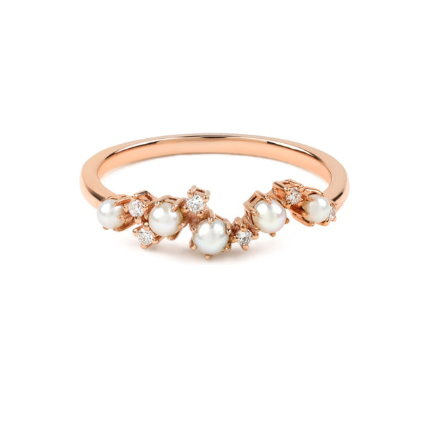 The Pearl Crescent Diamond Wedding Band // Rose Gold