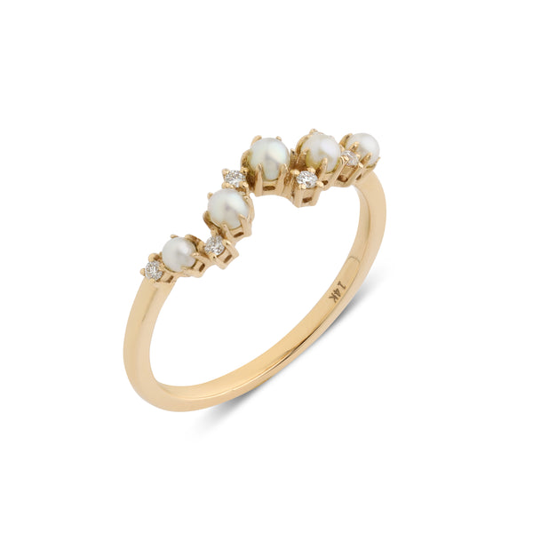 The Pearl Crescent Diamond Wedding Band // Gold