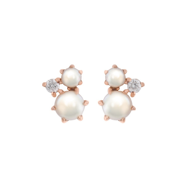 The Pearl Diamond Cluster Earrings // Rose Gold