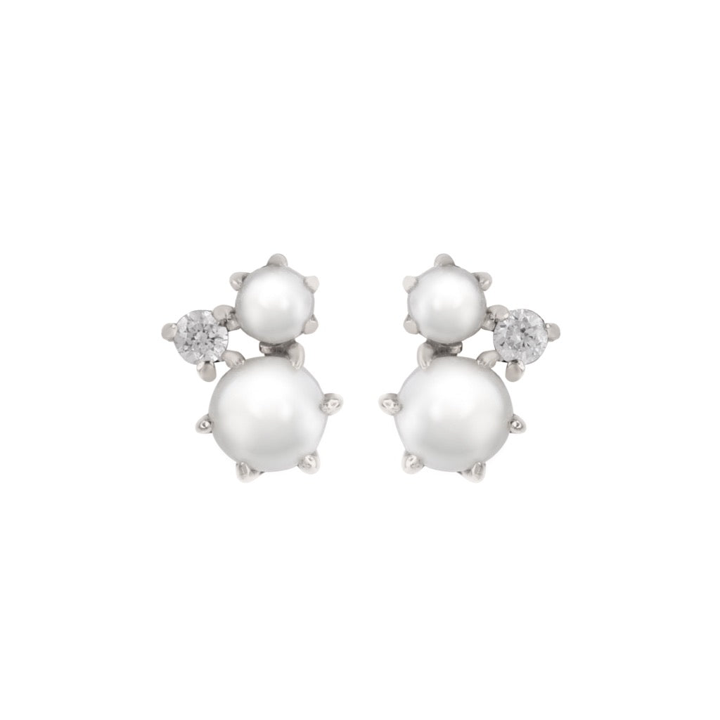 The Pearl Diamond Cluster Earrings // White Gold
