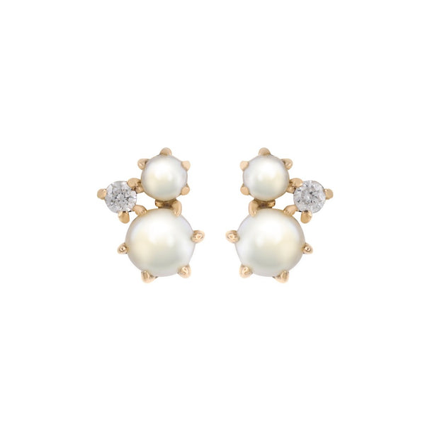 The Pearl Diamond Cluster Earrings // Gold