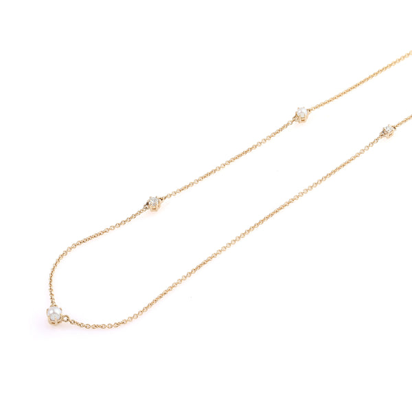 The Pearl Diamond Space Necklace // Gold