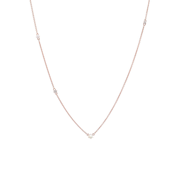 The Pearl Diamond Space Necklace // Rose Gold