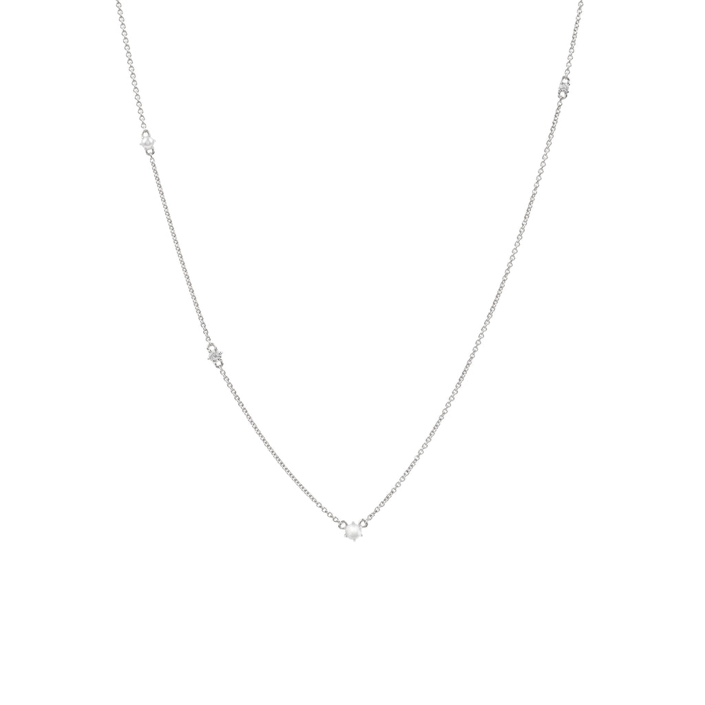 The Pearl Diamond Space Necklace // White Gold
