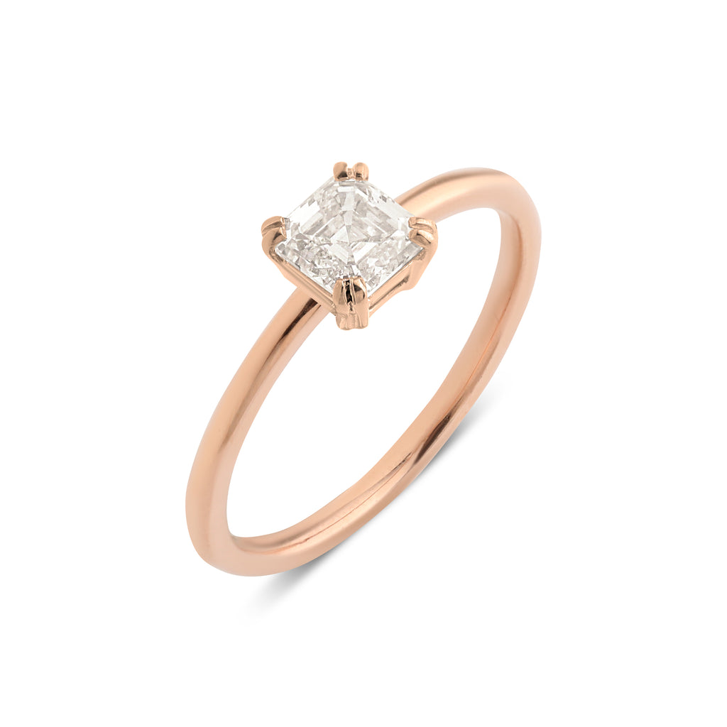 The Asscher Solitaire Diamond Ring // Rose Gold