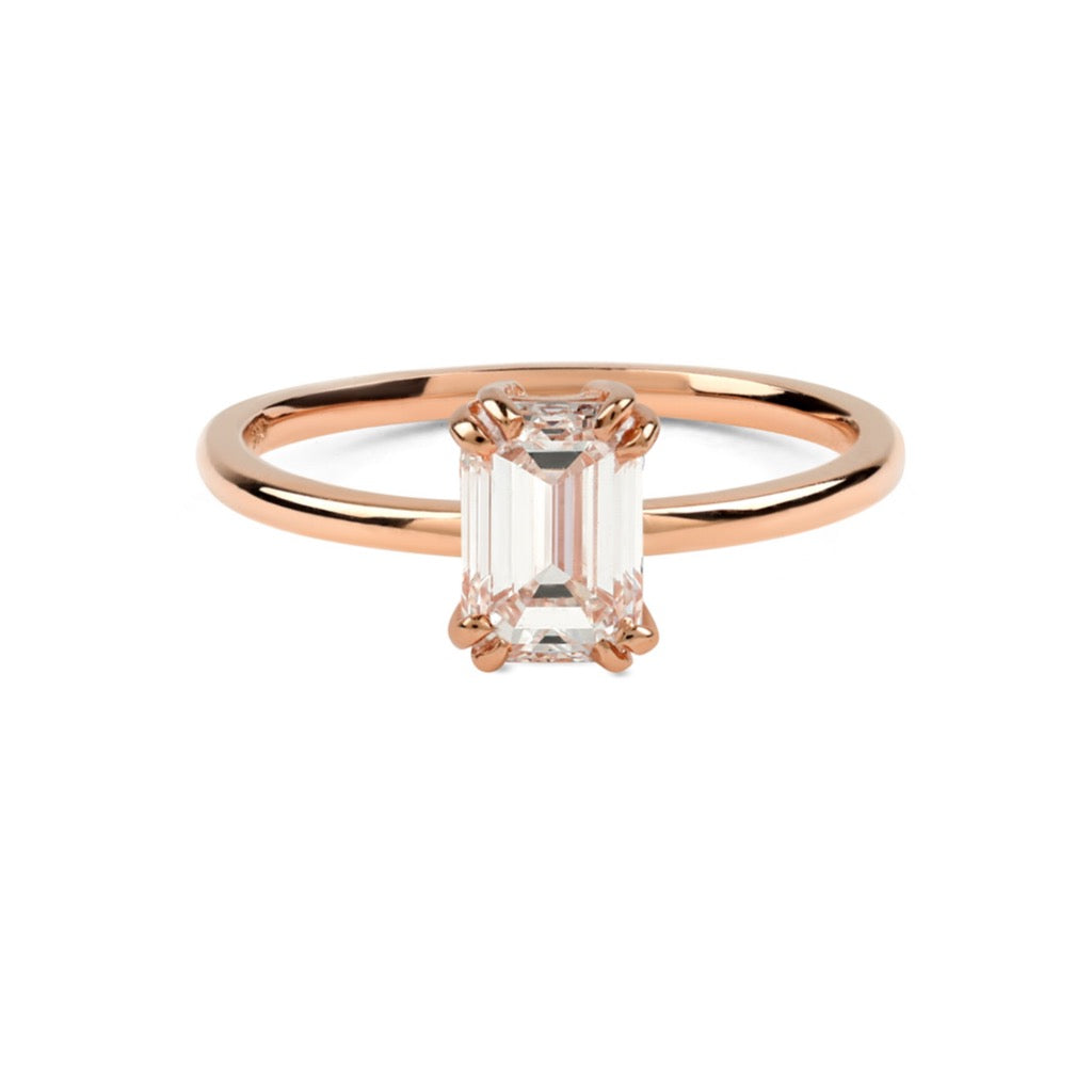 The Emerald Solitaire Diamond Ring // Rose Gold