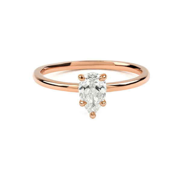 The Pear Solitaire Diamond Ring // Rose Gold