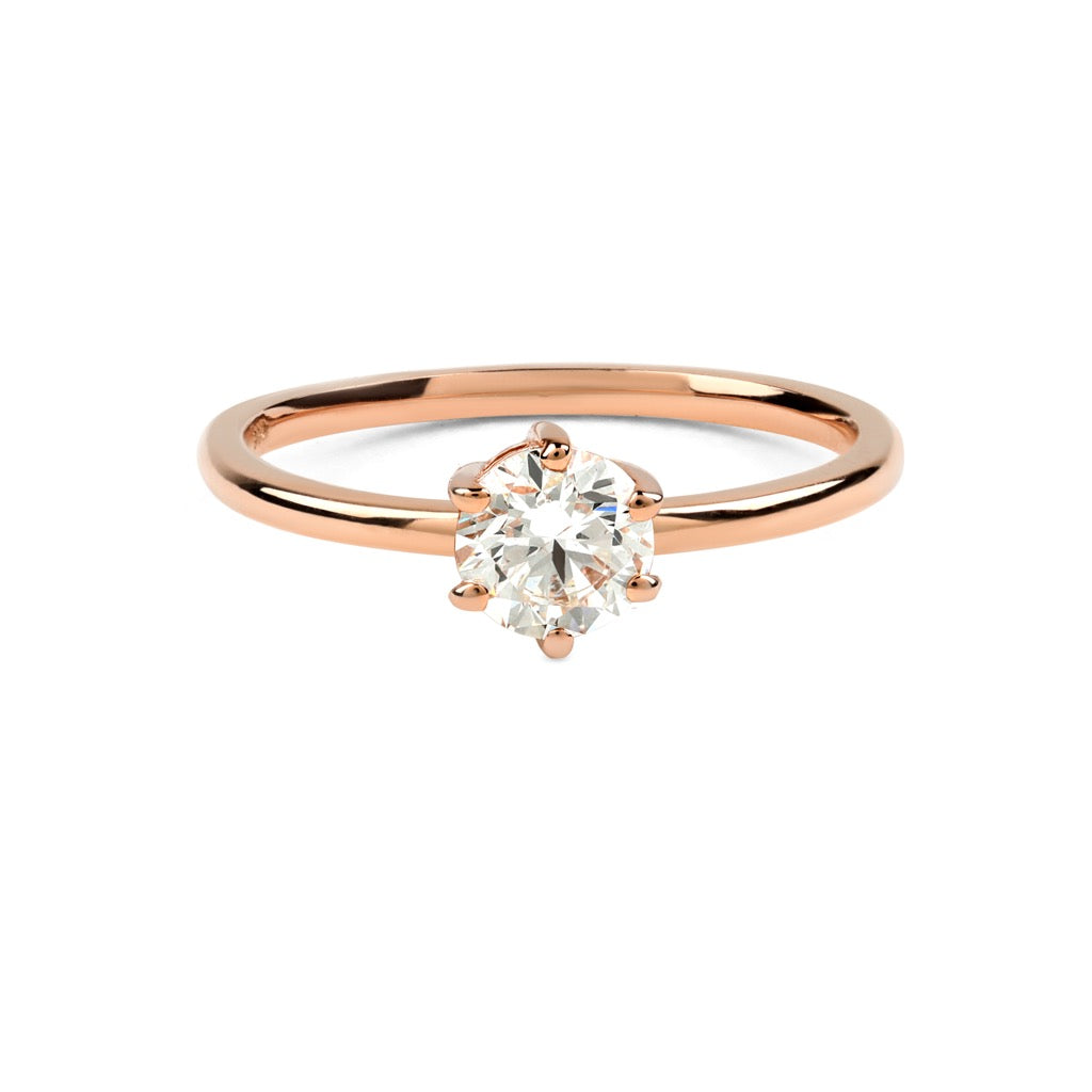 The Round Solitaire Diamond Ring // Rose Gold