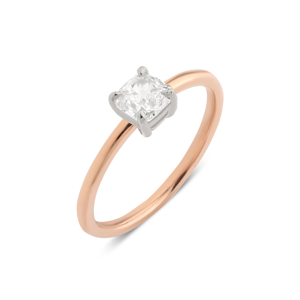 The Cushion Solitaire Diamond Ring // Rose & White Gold