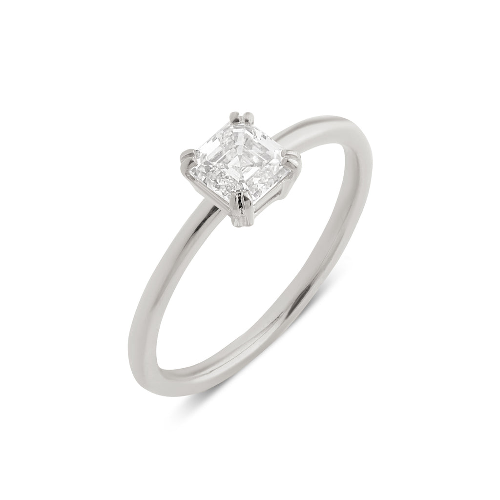 The Asscher Solitaire Diamond Ring // White Gold