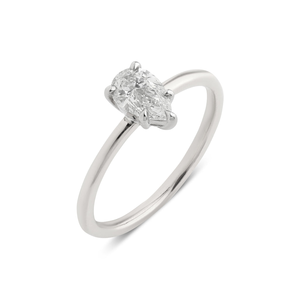 The Pear Solitaire Diamond Ring // White Gold