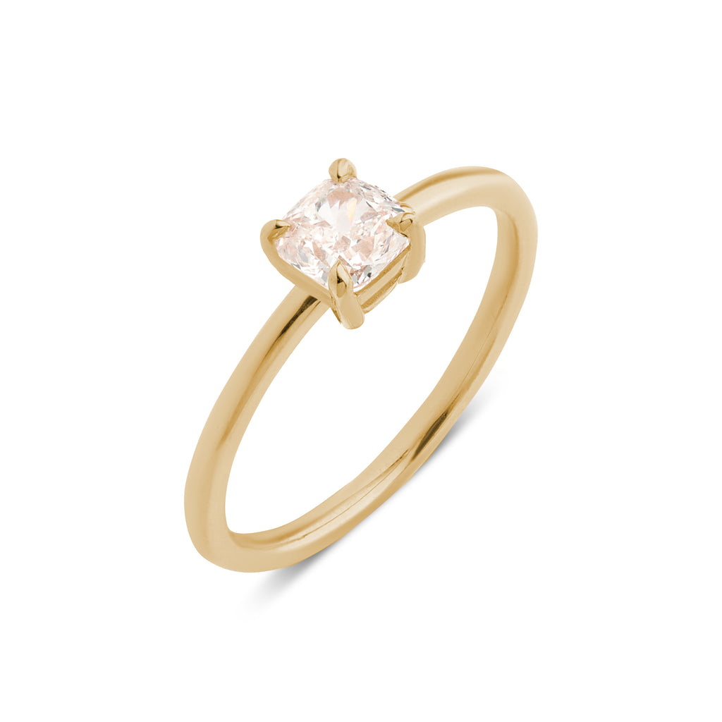 The Cushion Solitaire Diamond Ring // Gold