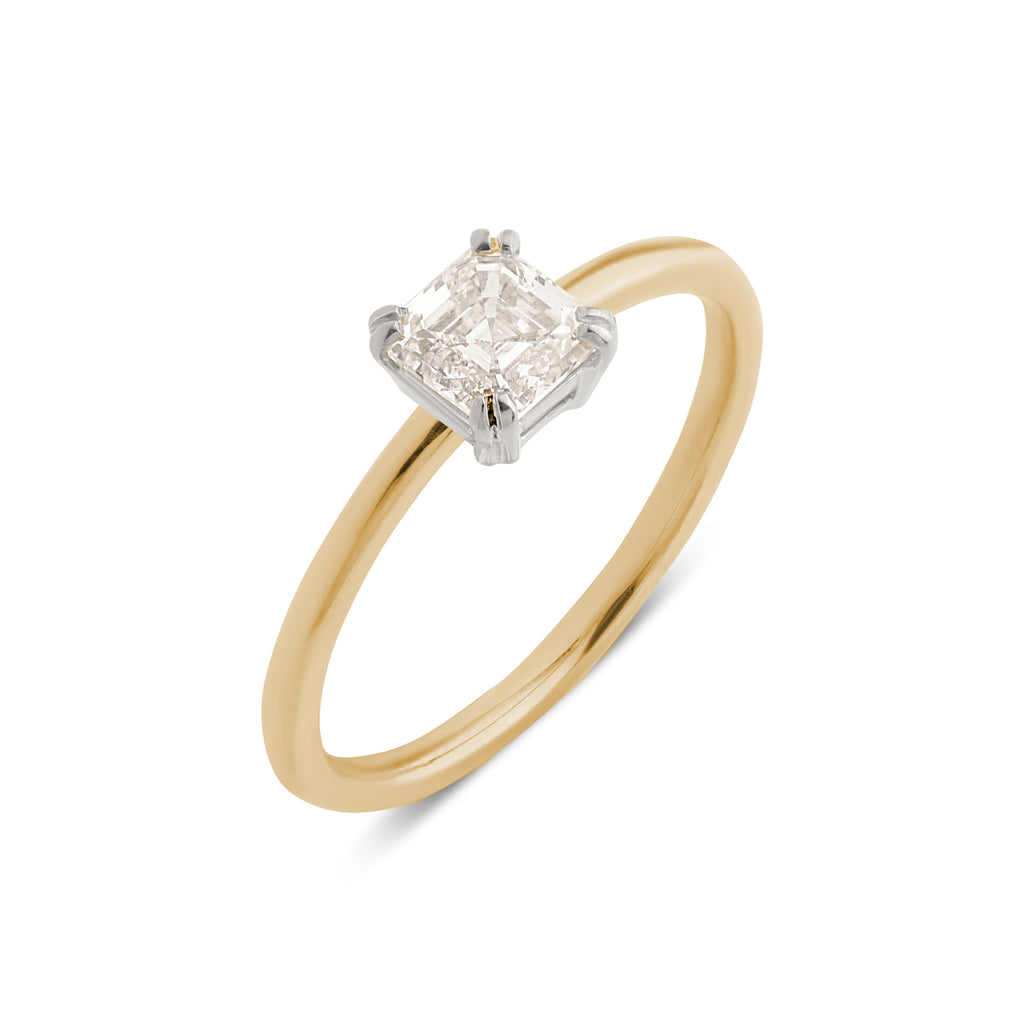 The Asscher Solitaire Diamond Ring // Gold & White Gold