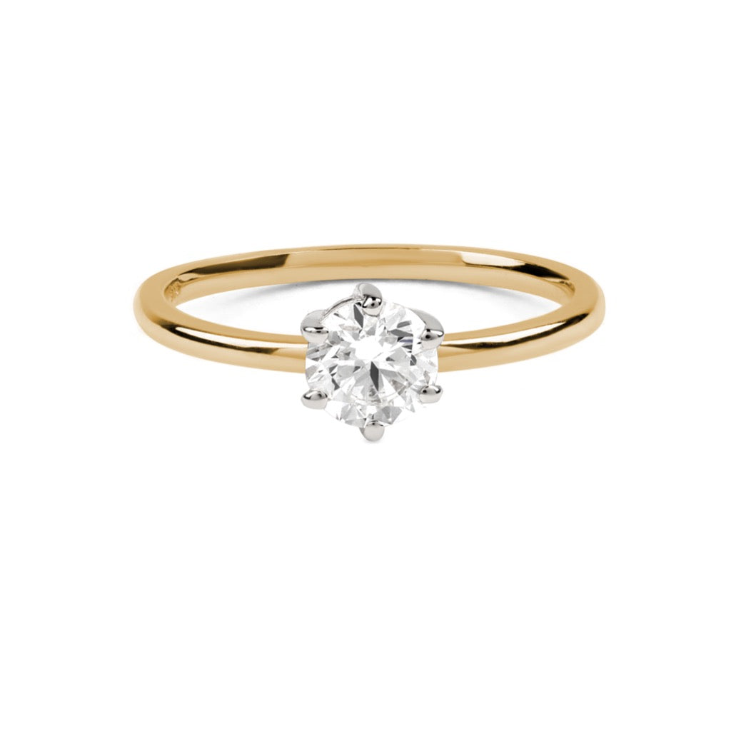 The Round Solitaire Diamond Ring // Gold & White Gold