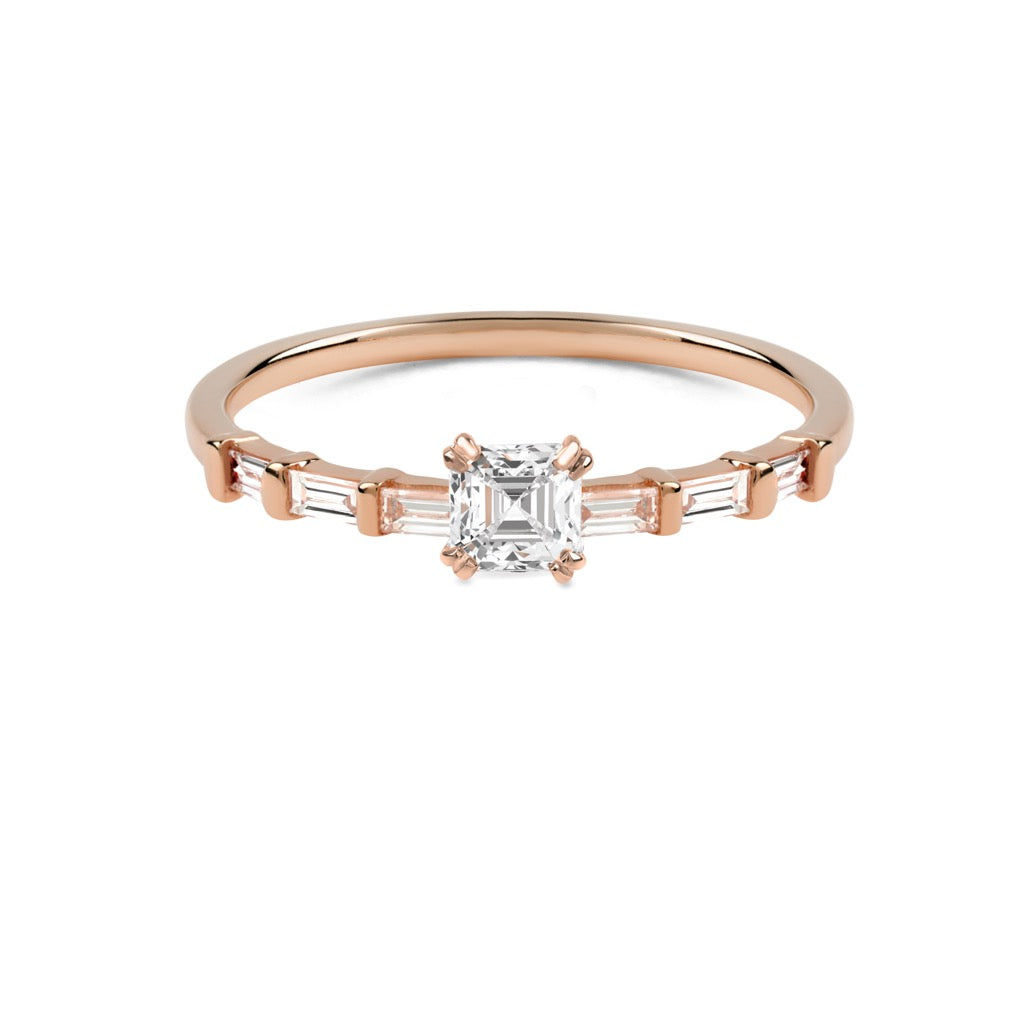 The Asscher Diamond Baguette Ring // Rose Gold