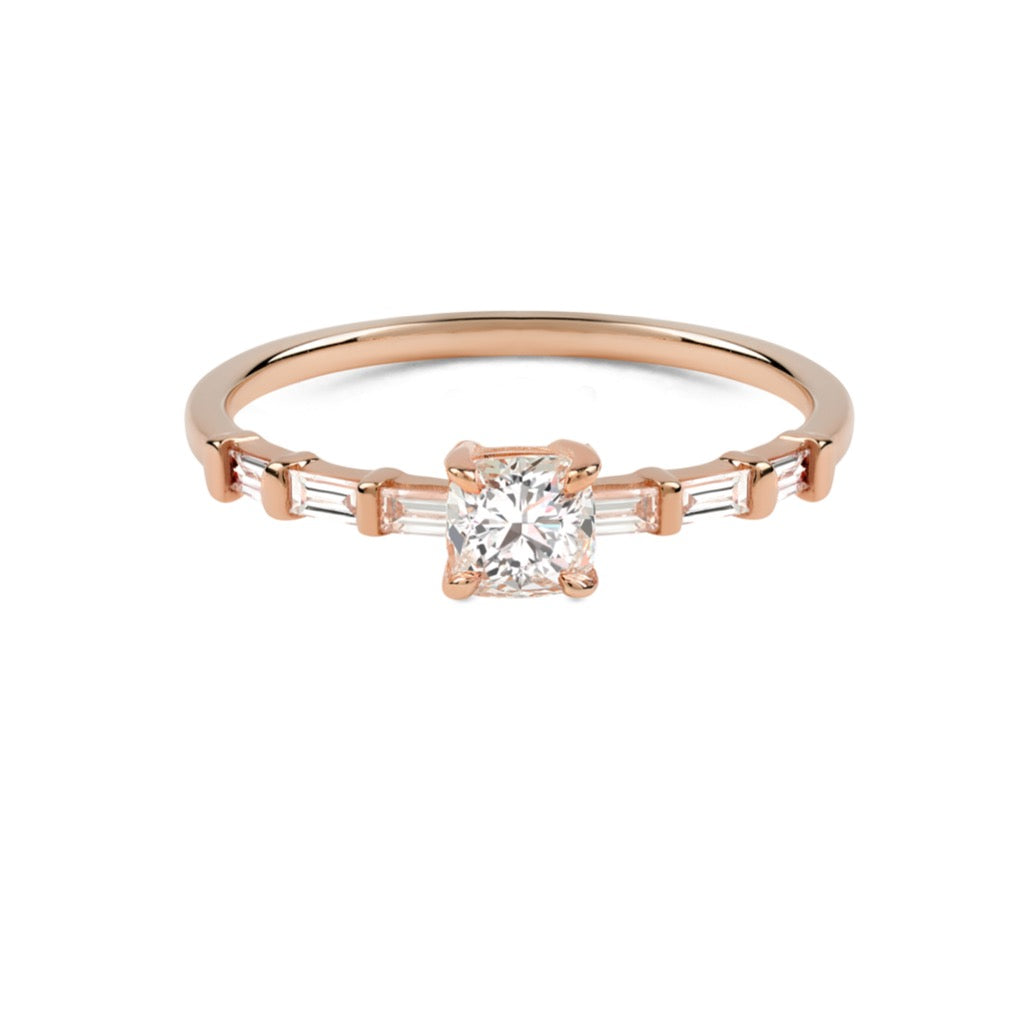 The Cushion Diamond Baguette Ring // Rose Gold