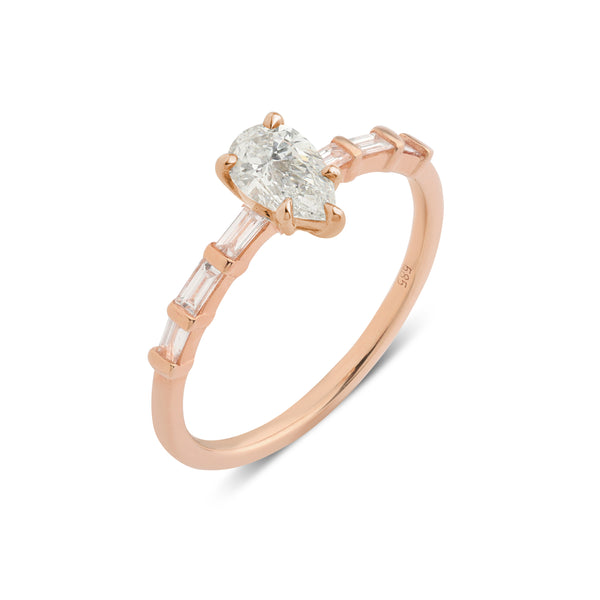 The Pear Diamond Baguette Ring // Rose Gold