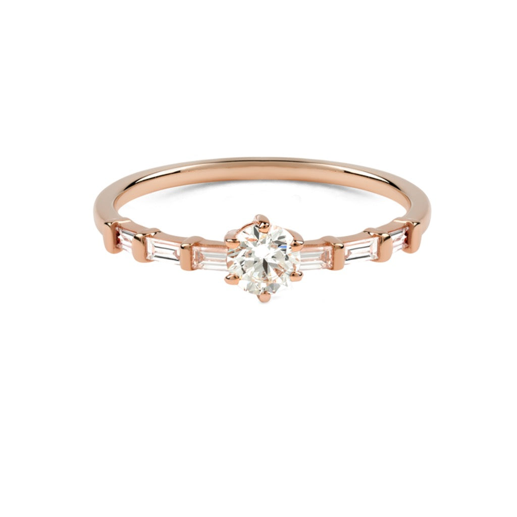 The Round Diamond Baguette Ring // Rose Gold