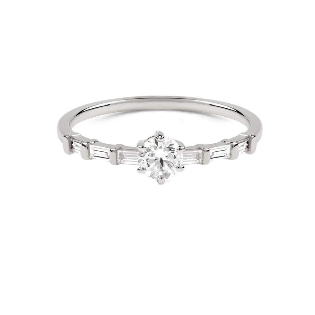 The Round Diamond Baguette Ring // White Gold