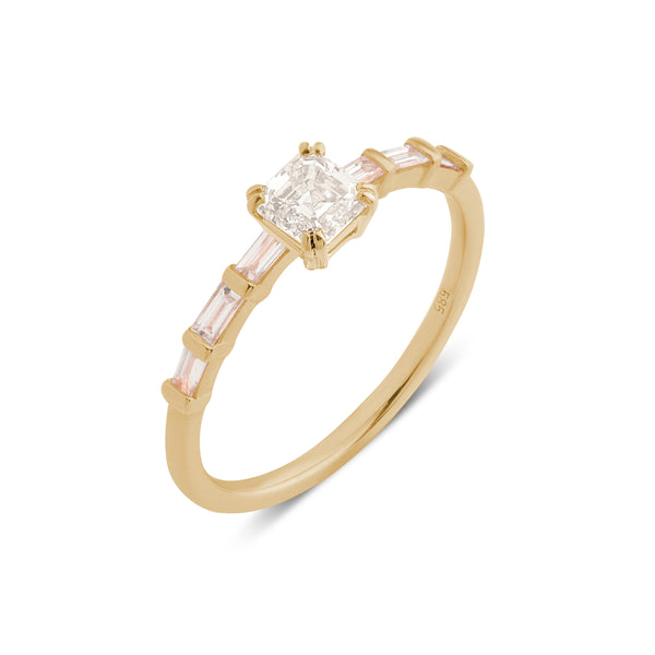 The Asscher Diamond Baguette Ring // Gold