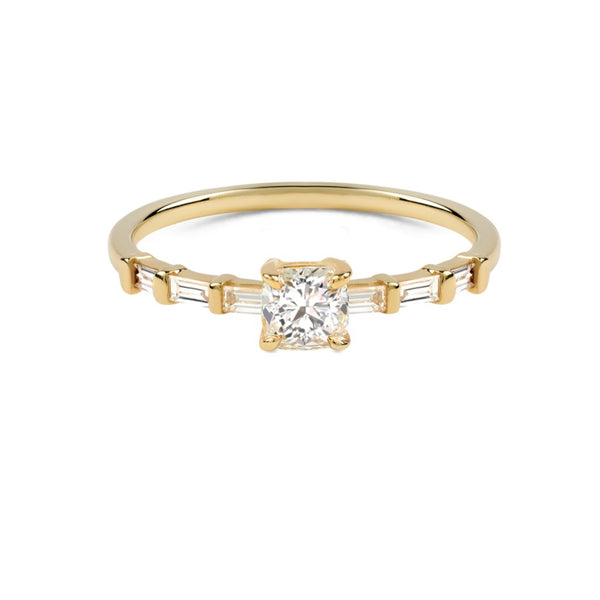 The Cushion Diamond Baguette Ring // Gold