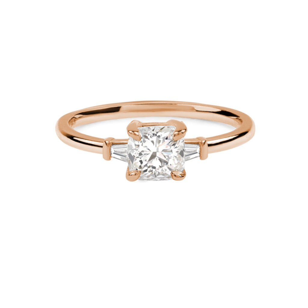 The Cushion Tapered Diamond Ring // Rose Gold