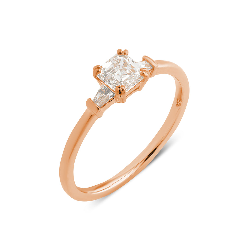The Asscher Tapered Diamond Ring // Rose Gold