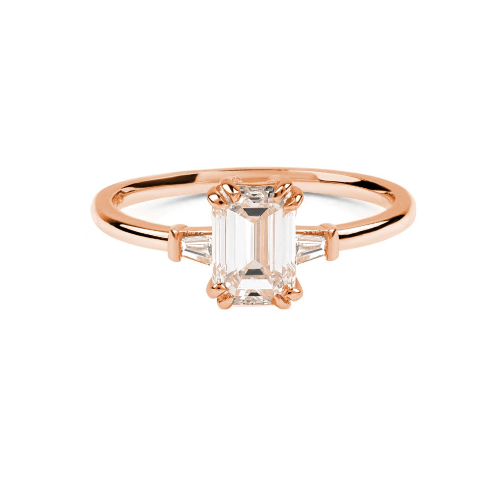 The Emerald Tapered Diamond Ring // Rose Gold