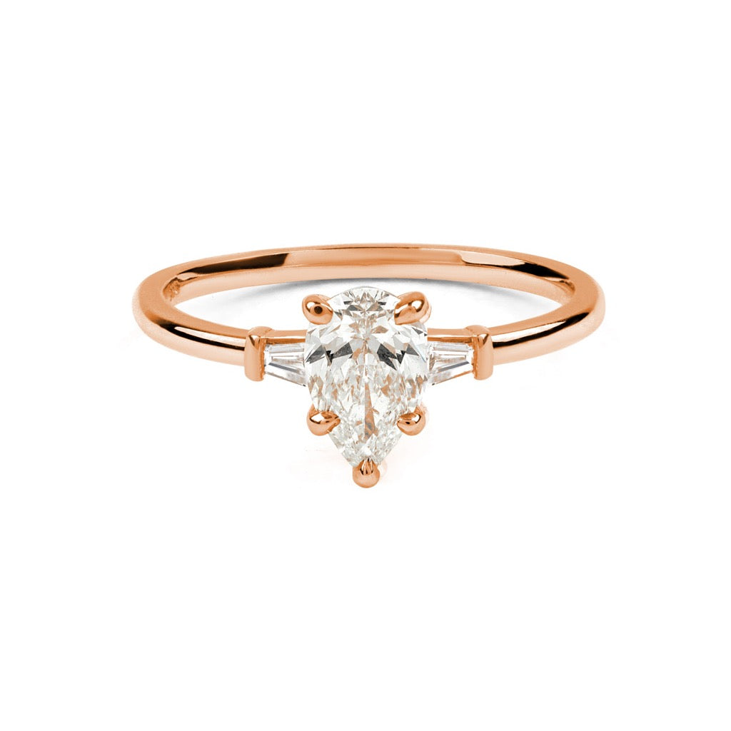 The Pear Tapered Diamond Ring // Rose Gold