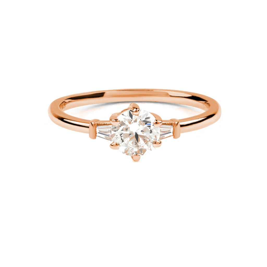 The Round Tapered Diamond Ring // Rose Gold