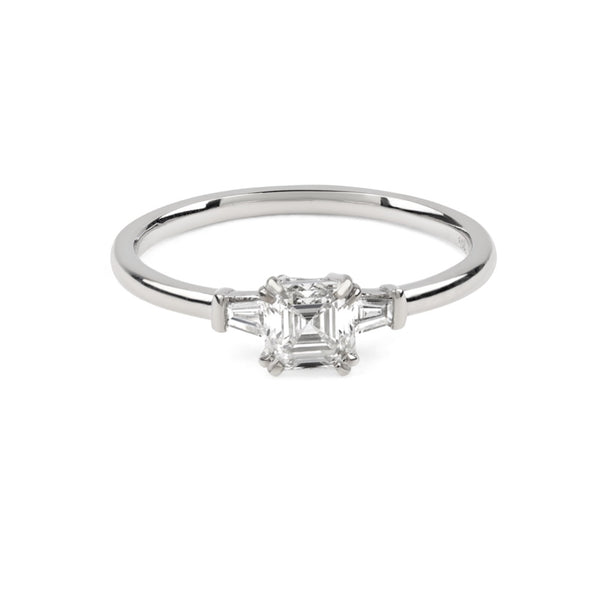 The Asscher Tapered Diamond Ring // White Gold