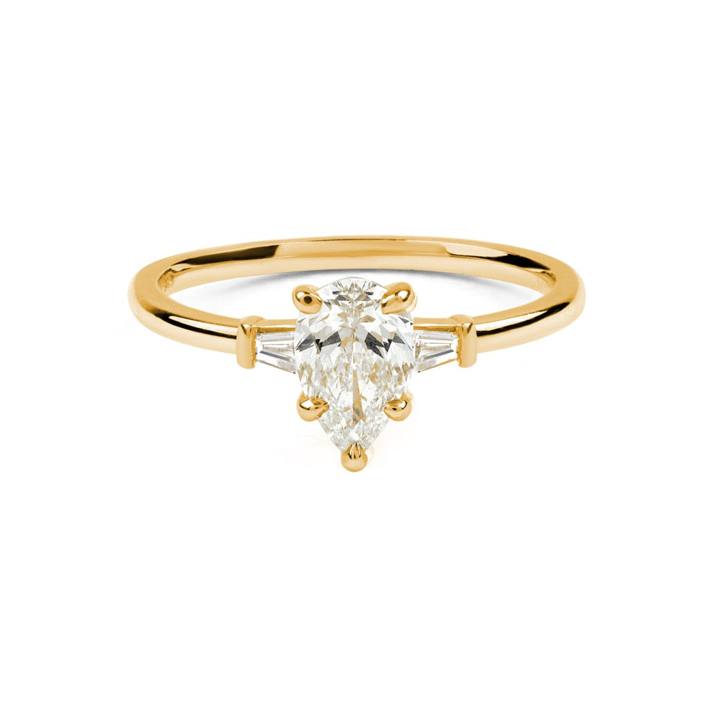 The Pear Tapered Diamond Ring // Gold