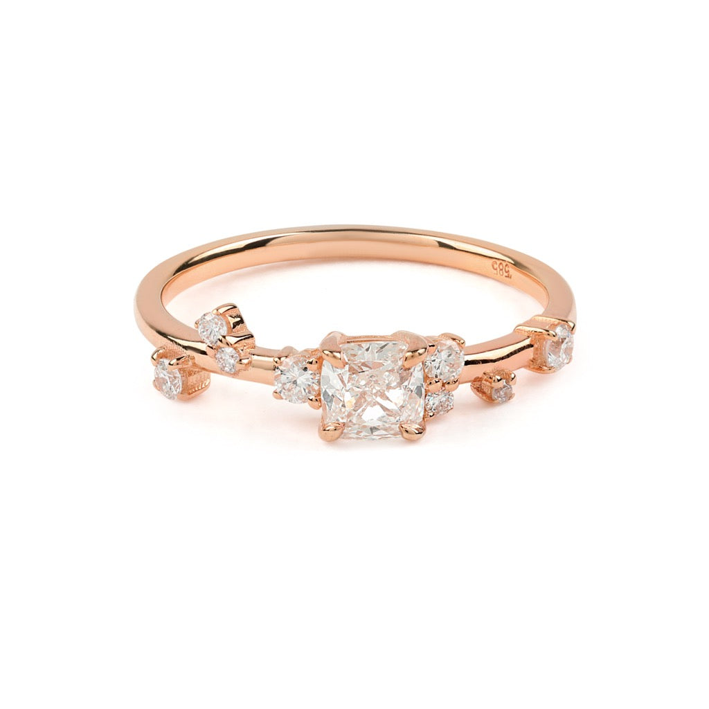 The Cushion Space Diamond Ring // Rose Gold