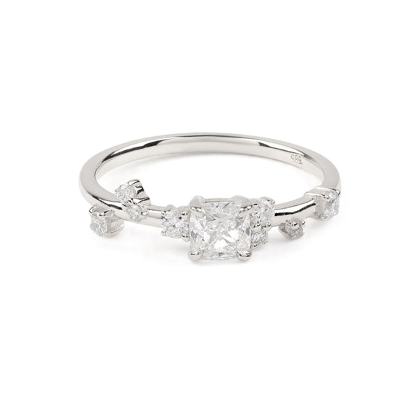 The Cushion Space Diamond Ring // White Gold