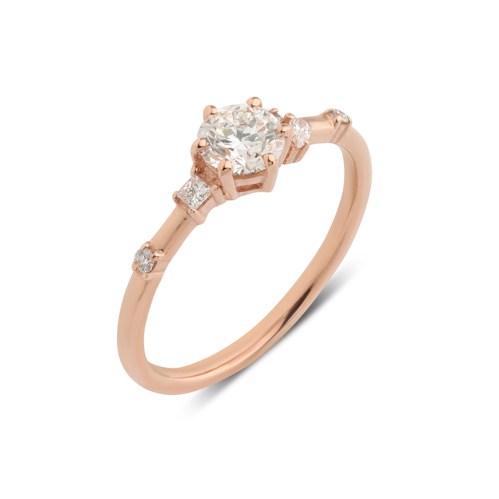 The Round Rosette Diamond Ring // Rose Gold