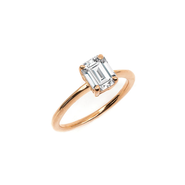 The Emerald Moissanite Engagement Ring // Rose Gold