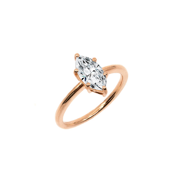 The Marquise Moissanite Engagement Ring // Rose Gold