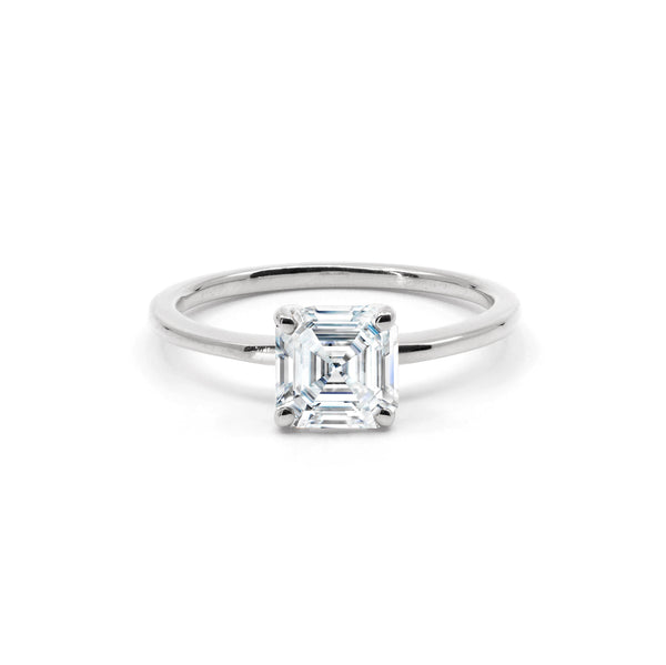 The Asscher Moissanite Engagement Ring // White Gold