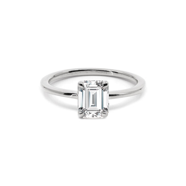 The Emerald Moissanite Engagement Ring // White Gold