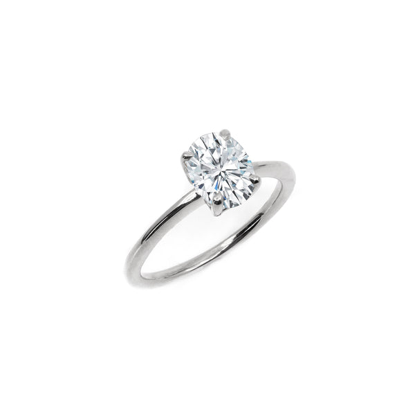 The Oval Moissanite Engagement Ring // White Gold