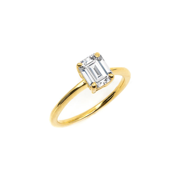 The Emerald Moissanite Engagement Ring // Gold