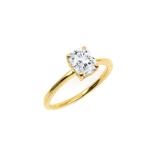 The Radiant Moissanite Engagement Ring // Gold